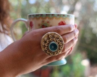 Boho jewelry Ceramic ring Ceramic jewelry Boho chic Polka dot ring Adjustable ring Fashion ring