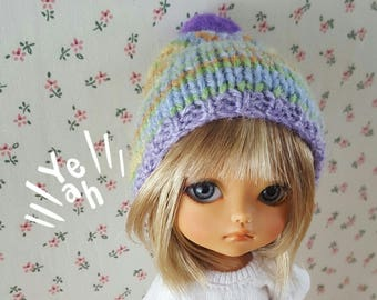 Multicolor green mauve pompom hat for Lati Yellow Irrealdoll Pukifee Mui Chan