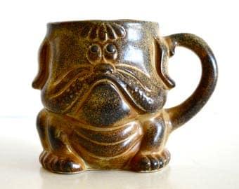 Vintage Pottery Bulldog Cup Mug 1970's Brown