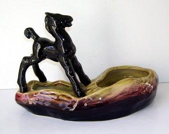Hull Black Horse Ceramic Planter, Water Planter, Home Decor Planter, Ameican Pottery, Pot Planter, U.S.A. Pottery Planter,