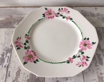 Vintage Alfred Meakin Plate Hand Painted Pink Daisies Flowers Octagon England Tea Pastry Cookies Art Deco