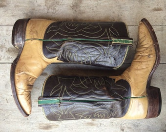 Rare 1940s 50s Tony Lama Black Label two tone cowgirl boot Women's size 8.5 to 9, old Tony Lama light tan and brown cowboy boot,
