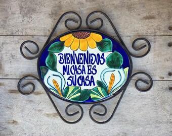Vintage Bienvenidos Mi Casa Es Su Casa Talavera iron wall hanging, Welcome Greeting, hacienda decor, Southwestern decor, Mexican home decor