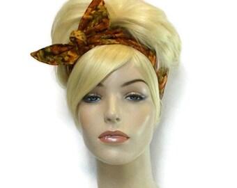 Autumn Headband, Wired Headband, Autumn Fashion, Dolly Bow Reversible Headband Fabric Headband Cute Headband Orange Gold Brown Yellow Leaves