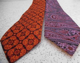 pair of 1970s vintage mens ties