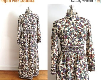 ON SALE 1960s Maxi Dress / 60s 70s Boho Paisley Floral Dress