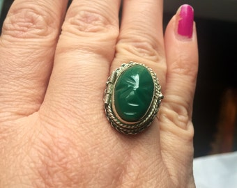 Carved Mask Poison Ring - Green Onyx - Sterling Silver - Vintage