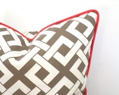 Beige outdoor pillow cover 18x18, geometric cushion case for outdoor bench, tan and coral outdoor pillow case, trellis cushion piping