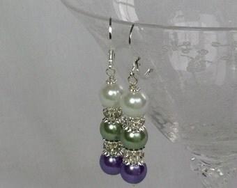 Green Purple White Pearl Bridemaid Earrings