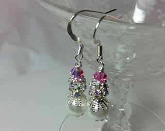Pink and White Pearl Bridesmaid Earrings