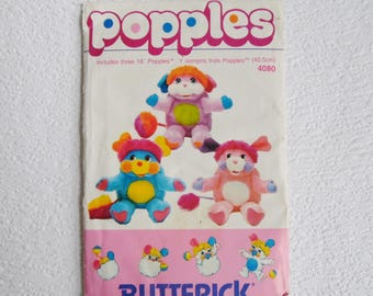 Vintage Sewing Pattern, Butterick 4080 Popples Pattern, 1980s, Uncut and Factory Folded,