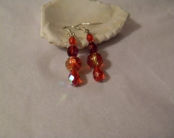 Red sparkly drop earrings