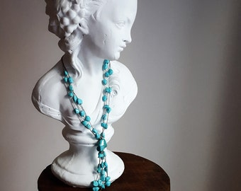 turquoise, crystal and silver necklace