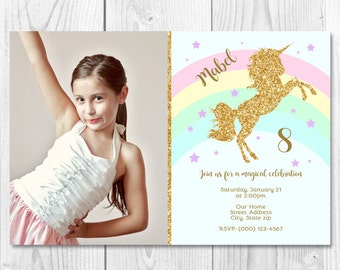 Unicorn Rainbow Printable Invitation with/without Picture 4x6 or 5x7