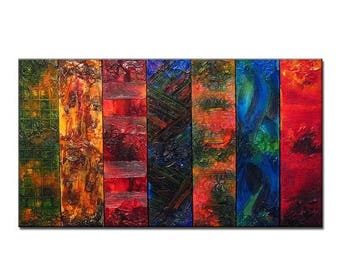 Huge Original Abstract Painting, Textured Modern Art by Henry Parsinia large 84x48