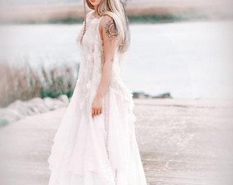 L Stevie Nicks Style Lace Maxi Dress, Boho Sundress, Gypsy Wedding Dress, Shabby Cottage Chic Dress, French Market Dress True Rebel Clothing