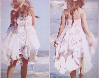 Red and Creme Sundress, Custom for Patricia, Shabby wedding, Bohemian beach wedding, Boho dresses Romantic sundress, True rebel clothing