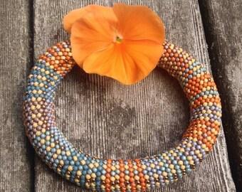 Bead Crochet Bracelet Kit Fabric Weave No. 3 Pattern and Full Kit Single Stitch Bead Crochet Bracelet