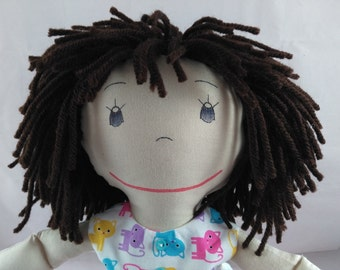 READY TO SHIP Rag Doll,sand skin tone,mop of brown hair,Removable Clothes,Rag Doll,Fabric Doll, Stuffed Doll,Plush Doll