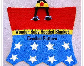 Wonder Baby Hooded Blanket Crochet Pattern PDF - INSTANT DOWNLOAD