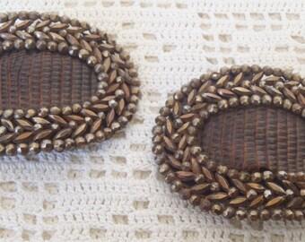 Vintage Cut Steel Oval Shoe Buckles Leather Insert