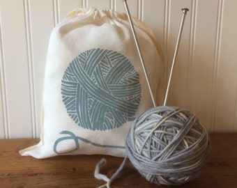 Organic Linen Knitting Bag - Screen Printed with Yarn Design