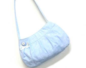 Pleated purse handbag, small pocketbook, baby blue cotton bag with magnetic closure, casual buttercup bag, blue handbag, girls bag