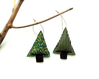 Christmas tree sachets, tree trimming, set of two, balsam pine fir cinnamon chips, rustic country home, scented ornaments, Christmas balsam