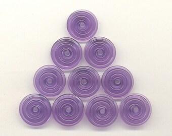 Reserved for Debra G., 15mm range, Tom's lampwork hyacinth purple 2 disc spacer/drops set, 1 pair 95866