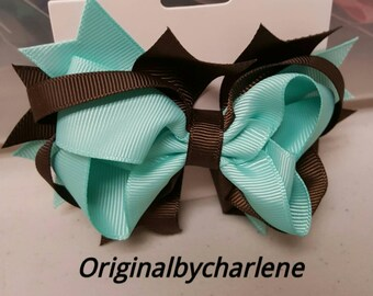 Boutique Turquoise and Chocolate Brown Hairbow