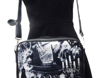"USA Handmade Shoulder Bag With ""Hunted HOUSE"" Pattern  HANDBAG With Adjustable Handle Purse, Cotton, New"