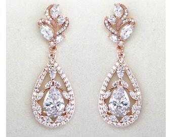 CZ Tear Drop Rose Gold Bridal Earrings Wedding Cubic Zirconia  Bridal Jewelry Rose Gold Crystal Wedding Earrings