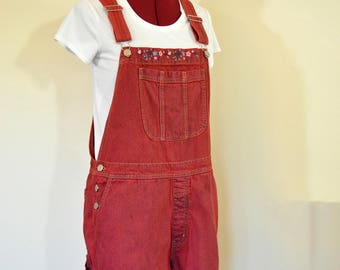 Red Large Bib OVERALL Shorts - Scarlet Red Dyed Cherokee Cotton Denim Shortalls - Adult Womens Size Large (36 waist)