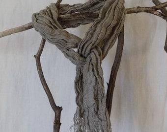 Handmade Skinny Linen Scarf / Mini Scarf --- Natural Dye Free