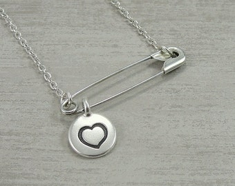 Silver Solidarity Safety Pin Necklace with Heart - Safety Pin Movement - You are Safe - Safety Pin Jewelry