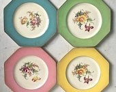Antique Luncheon Plates Regalware England Set 4 Assorted Colors Floral pottery