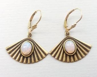 Antique Gold Art Deco Opal Fan Earrings, Gold Earrings, Geometric Earrings, Opal Earrings, Also in Rose, Amethyst, Sapphire and Emerald
