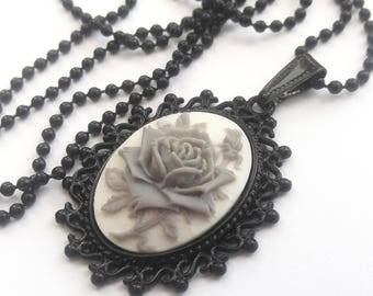 Gray and White Rose Cameo Necklace, Black Setting, Black Ball Chain, Gray Flower Necklace, Gray Rose Necklace, Monochrome