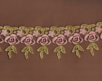 Hand Dyed Venise Lace Dainty Drippy Roses  Aged Shabby Bliss