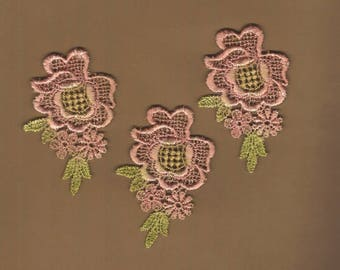 Hand Dyed Venise Lace Appliques Aged Shabby Bliss  Florals Set of 3