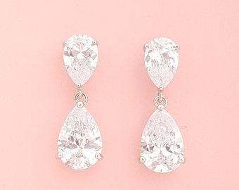 Bridal Teardrop Earrings Wedding Jewelry Crystal Wedding Earrings Crystal Drop Wedding Earrings, Caroline Earrings