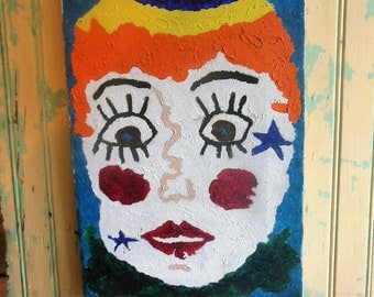Vintage Mod Painting,  Starry Eyed Girl, Mid Century