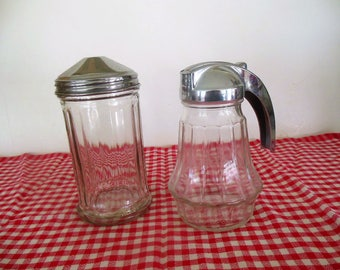 Industrial Restaurant Sugar Shaker and Creamer / Syrup,  Chrome Plate & Glass