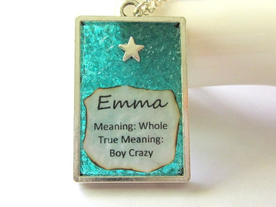 Meaning of Name Gift, Written Name Necklace, Paper Jewelry, Emma Pendant, Turquoise Stained Glass Charm, Boy Crazy Girls Present