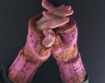 Fingerless Gloves - Hand-Knit Gloves - Women's Fingerless Gloves - Half Gloves  - Pink & Brown - Magenta Sequins - Women's Winter Gloves