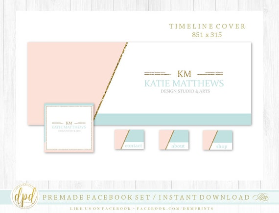 Premade DIY Facebook Set   Facebook Timeline   Facebook Package   Facebook Graphics   Business Branding   INSTANT DOWNLOAD-XA383
