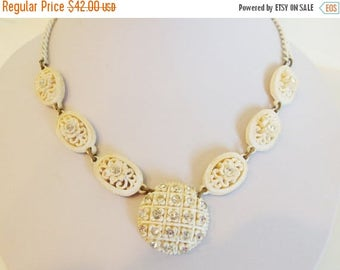 ON SALE Beautiful Vintage 1930's Art Deco Celluloid and Rhinestone Necklace