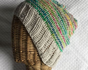 Rainbow stripes hand knit ski beanie hat