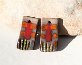 2 handmade charms for earrings or necklace totem - high fired  ceramic clay pottery supply - luminous boho chic rustic rectangle stripes