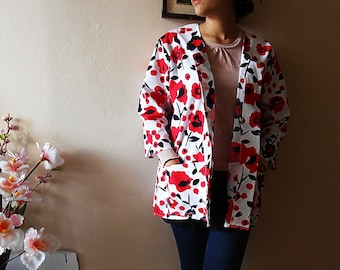 Floral White Jacket Red Rose White BlazerFloral Coat 3/4 sleeve with two Pockets Oversized Size XL XXL XXXL